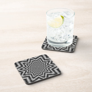 Optically Challenging Star in Black and White Beverage Coasters
