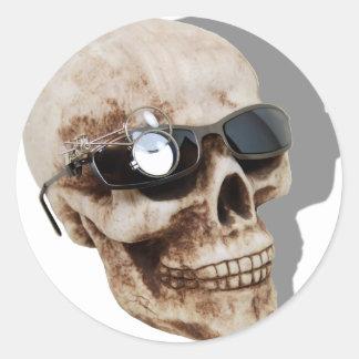 OpticalSkull042109shadows Classic Round Sticker