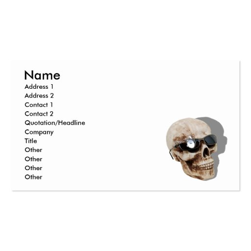 OpticalSkull042109shadows, Name, Address 1, Add... Double-Sided Standard Business Cards (Pack Of 100)