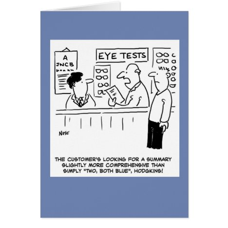Optician Giving an Over Simplistic Eye-Test Card