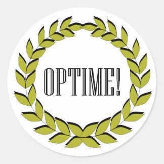 ¡Optime! ¡Trabajo excelente! Pegatina Redonda