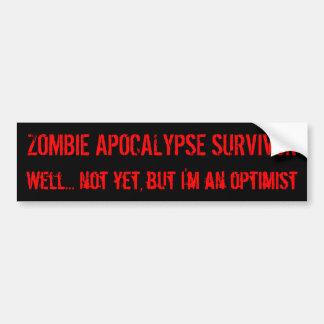 Optimismo del zombi pegatina de parachoque