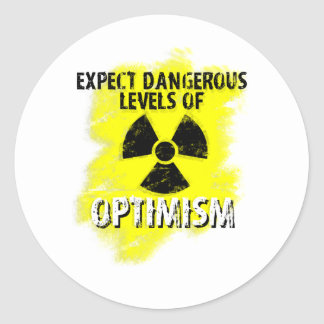 optimismo peligroso pegatina redonda