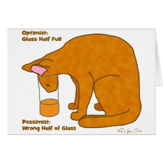 Optimist Pessimist Cat Card