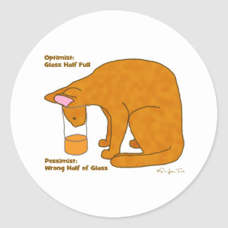 Optimist Pessimist Cat Classic Round Sticker