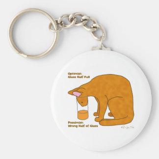 Optimist Pessimist Cat Keychain