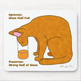 Optimist Pessimist Cat Mouse Pad