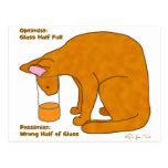 Optimist Pessimist Cat Postcard