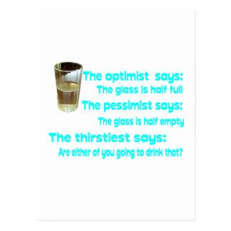 Optimist? Pessimist? Thirstiest. Postcard