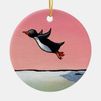 Optimista eterno del arte caprichoso de la adorno navideño redondo de cerámica