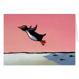 Optimista eterno del arte del pingüino de la tarjeta de felicitación