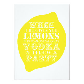 "Optimistic Card   Lemon Party Theme 4.5"" X 6.25"" Invitation Card"