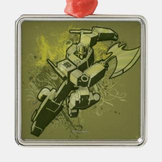 Optimus - explosión frondosa 2 adorno cuadrado plateado
