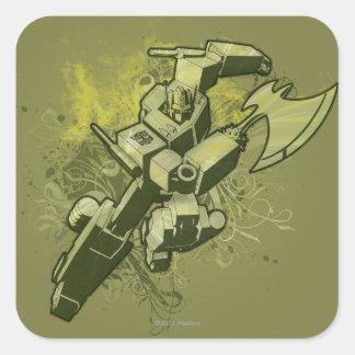 Optimus - explosión frondosa 2 calcomanía cuadrada