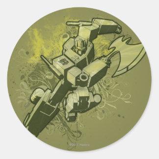 Optimus - explosión frondosa 2 etiqueta redonda