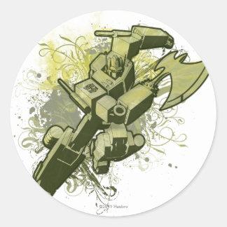Optimus - explosión frondosa etiqueta redonda