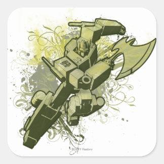 Optimus - explosión frondosa pegatinas cuadradas