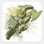 Optimus - explosión frondosa pegatina cuadrada