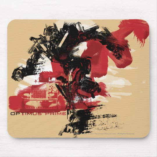 Optimus Prime Running Brush Strokes Mouse Pad