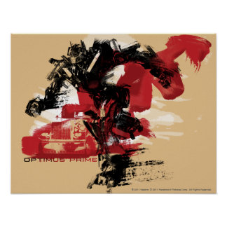Optimus Prime Running Brush Strokes Poster