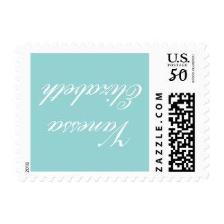 Option 3, Vanessa Stamp Blue Background White Name