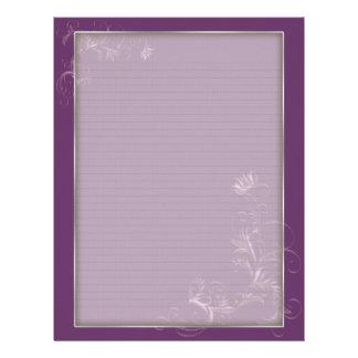 Optional Lines Letterhead Mauve Floral Frame