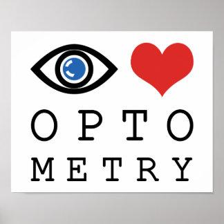 Optometría del amor del ojo póster