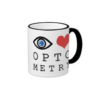 Optometría del amor del ojo tazas de café