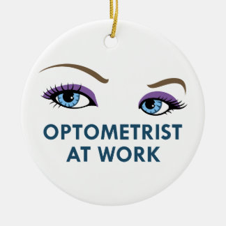 OPTOMETRIST AT WORK Double-Sided CERAMIC ROUND CHRISTMAS ORNAMENT