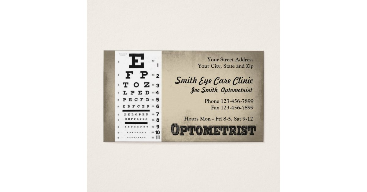 Optometrist Business Card | Zazzle.com