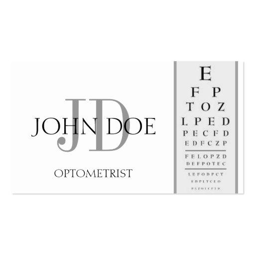 Optometrist chart white business card templates zazzle for Optometrist business card