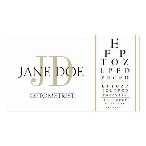 Optometrist Chart White/Tan Stripes Business Card Templates