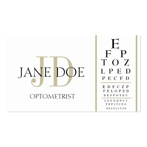 Optometrist Chart White/Tan Stripes Business Card Templates