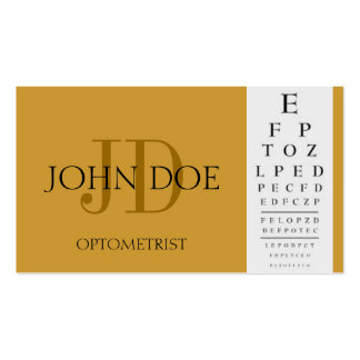 Optometrist Chart Yellow Gold Double-Sided Standard Business Cards (Pack Of 100)