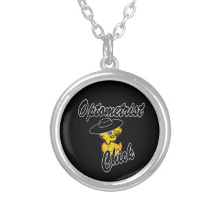 Optometrist Chick #4 Round Pendant Necklace