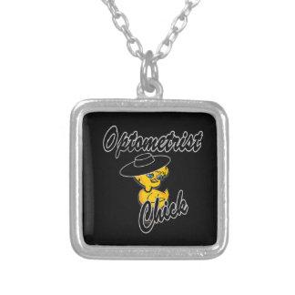 Optometrist Chick #4 Square Pendant Necklace
