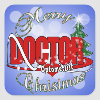 OPTOMETRIST DOCTOR MERRY CHRISTMAS SQUARE STICKER