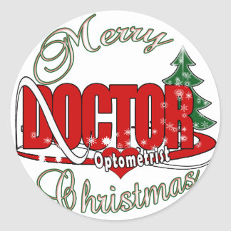 OPTOMETRIST DOCTOR MERRY CHRISTMAS CLASSIC ROUND STICKER