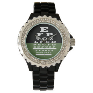 Optometrist Eye Chart Watch Green Black