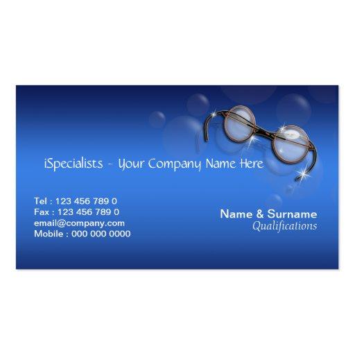 Optometrist optics optician eye turquoise business cards