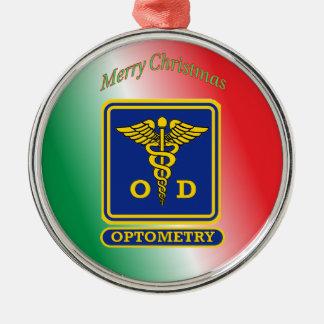 Optometrist Retired Caduceus Shield Metal Ornament