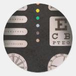 Optometrista - confusión óptica etiquetas redondas