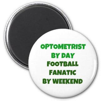 Optometrista del fanático del fútbol del día por f imán redondo 5 cm