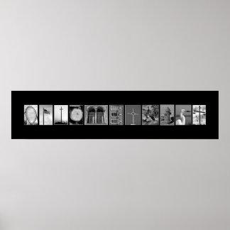 Optometrista explicado con las letras de la imagen póster