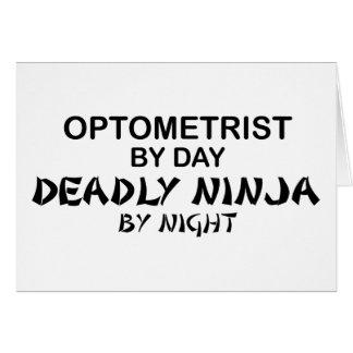 Optometrista Ninja mortal por noche Tarjeta De Felicitación