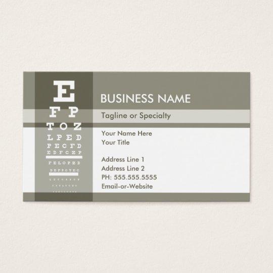 optometrista profesional tarjetas de visita
