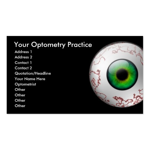 Optometry card business card