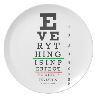 Optometry Eye Chart Dinner Plate