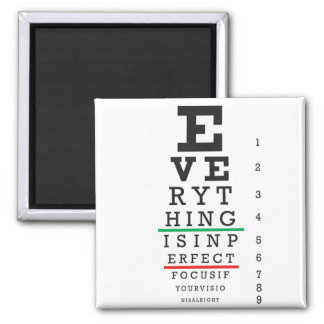 Optometry Eye Chart Illustration 2 Inch Square Magnet