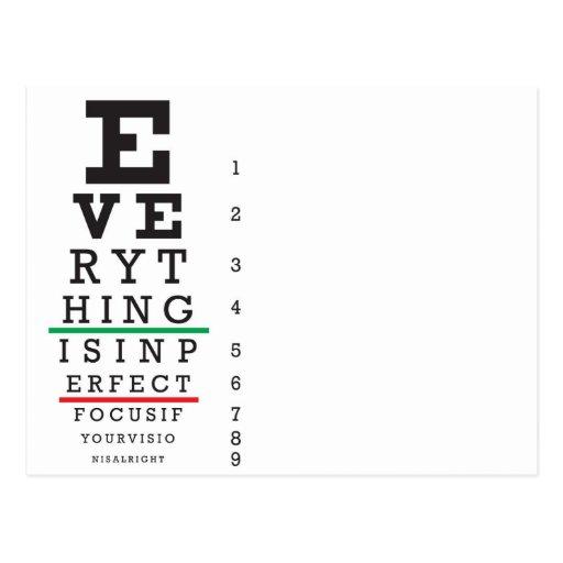 Optometry Eye Chart Illustration Postcard